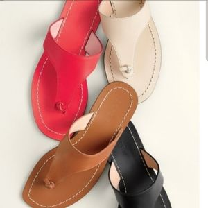 J. Crew Vibrant Red Playa Leather Thong Sandals